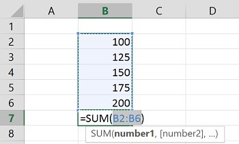 Excel's AutoSum automatically suggesting a range of cells to total