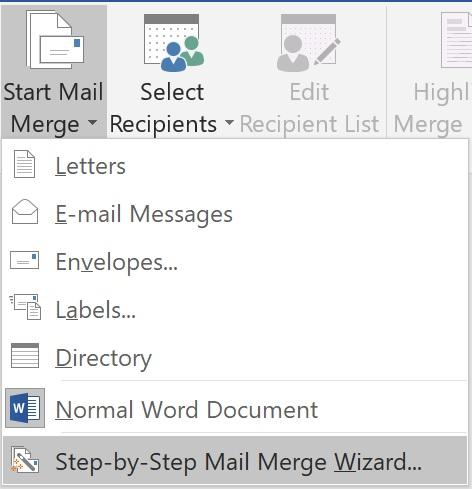 Word Mail Merge menu with Mail Merge Wizard